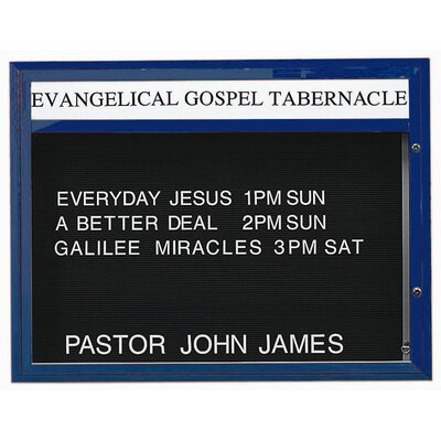 Single Sided Illuminated Community Board Size: 36 H x 47 W, Frame Color: Blue Powder Coated