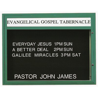 Single Sided Illuminated Community Board Size: 36 H x 47 W, Frame Color: Green Powder Coated