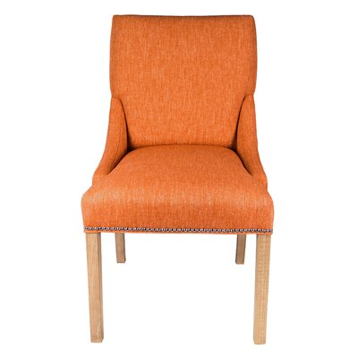 Maire Parsons Chair Finish: White, Upholstery: Terra Cotta