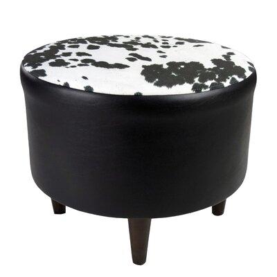 Sophia Cow-Hide Ottoman Upholstery: Black