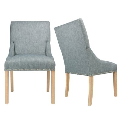 Maire Upholstered Dining Chair Finish: Natural, Upholstery: Zenith Teal