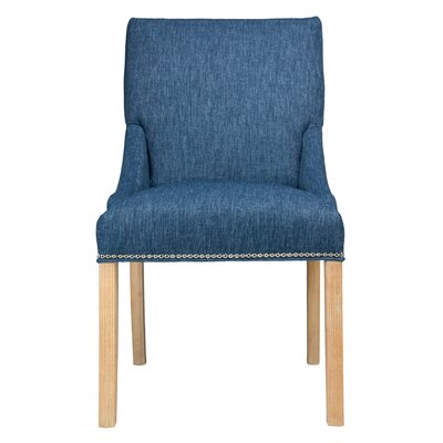 Maire Parsons Chair Finish: Natural, Upholstery: Denim