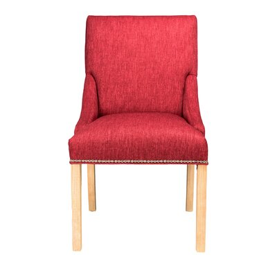 Maire Parsons Chair Finish: Natural, Upholstery: Ruby