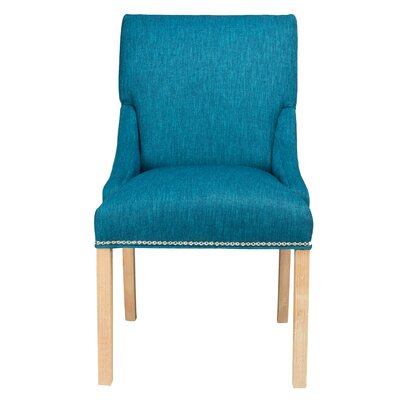 SOLE DESIGNS - MARIE Collection VAUGHN Spring Seating Double Dow Upholstered Dining Chairs with Natural Legs (Set of 2) Upholstery: Zenith Teal