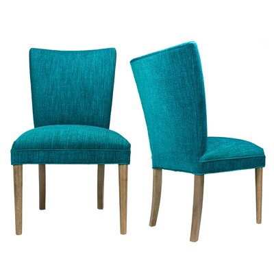 Alex Lucky Spring Seating Double Dow Roll-Back Upholstered Parsons Chair Finish: Walnut, Upholstery: Key-Largo Denim