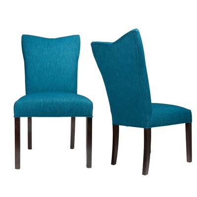 Politte Spring Seating Double Dow Upholstered Parsons Chair Finish: Espresso, Upholstery: Denim