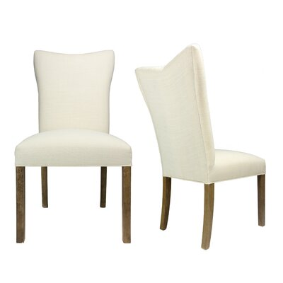 Politte Spring Seating Double Dow Upholstered Parsons Chair Finish: Walnut, Upholstery: Ivory