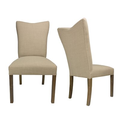 Politte Spring Seating Double Dow Upholstered Parsons Chair Finish: Walnut, Upholstery: Pebble