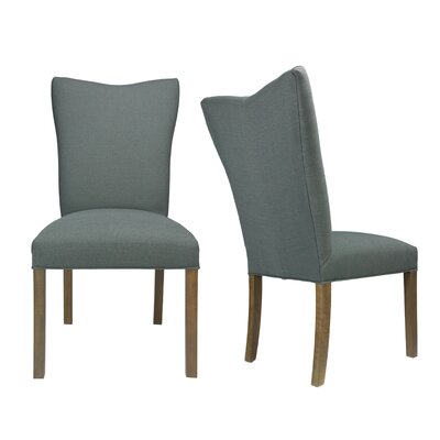 Politte Spring Seating Double Dow Upholstered Parsons Chair Finish: Walnut, Upholstery: Charcoal