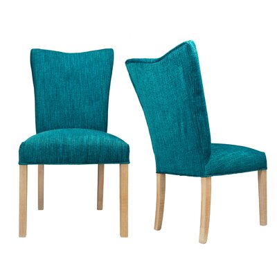 Politte Spring Seating Double Dow Upholstered Parsons Chair Finish: Natural, Upholstery: Turquoise