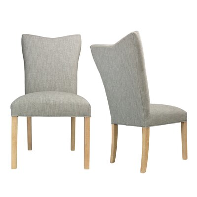 Politte Spring Seating Double Dow Upholstered Parsons Chair Finish: Natural, Upholstery: Platinum
