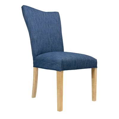 Politte Spring Seating Double Dow Upholstered Parsons Chair Finish: Natural, Upholstery: Denim