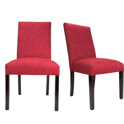 Parsons Chair Finish: Espresso, Upholstery: Red