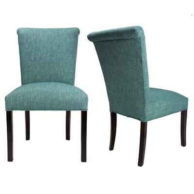 Barcelona Key Largo Spring Seating Double Dow Upholstered Side Chair Finish: Espresso, Upholstery: Teal