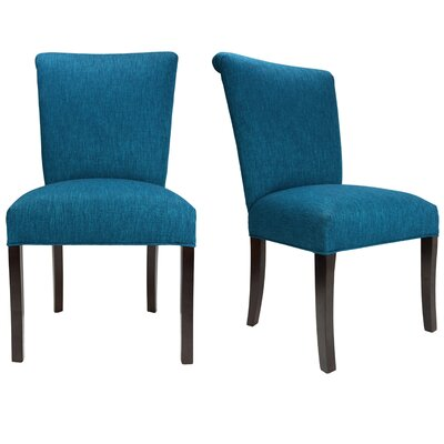 Barcelona Key Largo Spring Seating Double Dow Upholstered Side Chair Finish: Espresso, Upholstery: Zenith Teal