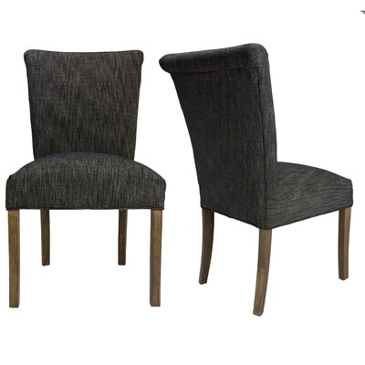 Barcelona Key Largo Spring Seating Double Dow Upholstered Parsons Chair Finish: Walnut, Upholstery: Phantom