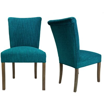 Barcelona Key Largo Spring Seating Double Dow Upholstered Side Chair Finish: Walnut, Upholstery: Turquoise