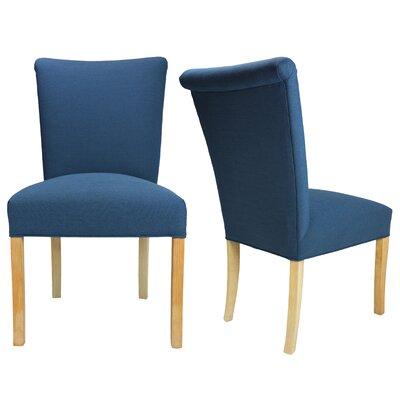 Barcelona Key Largo Spring Seating Double Dow Upholstered Parsons Chair Finish: Walnut, Upholstery: Blue