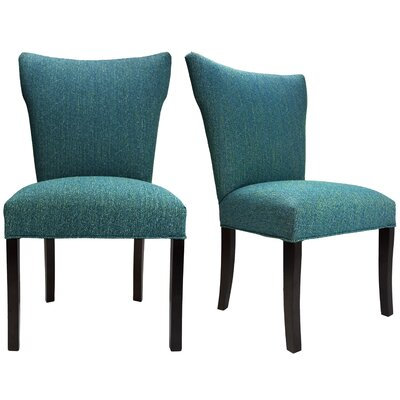 Salmon Allure Pebble Spring Seating Double Dow Upholstered Parsons Chair Upholstery: Teal