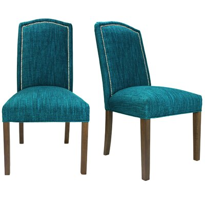 Vaughn Side Chair Finish: Walnut, Upholstery: Turquoise