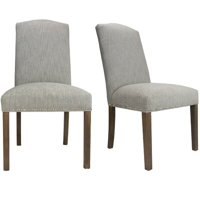 SOLE DESIGNS - SL3004 Key-Largo TEAL Spring Seating Double Dow Nail Trim Upholstered Dining Chairs with Espresso Legs (Set of 2) Finish: Walnut, Upholstery: Platinum