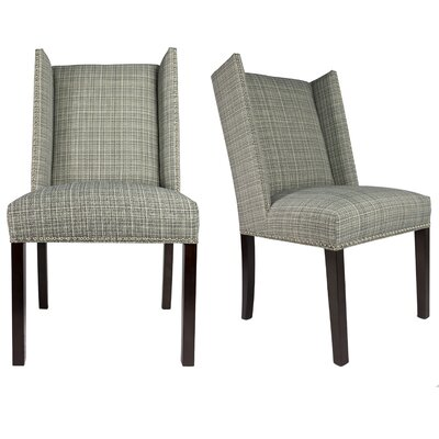 Winged Nail Head Spring Upholstered Side Chair