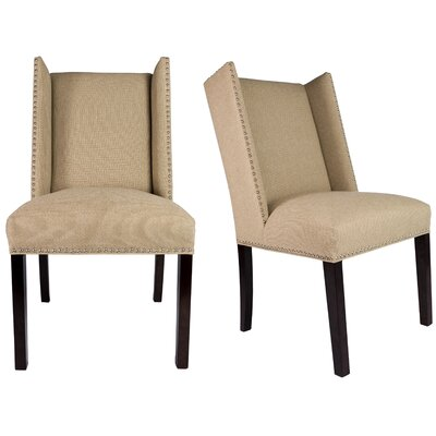 Nata Winged Nailhead Upholstered Side Chair Finish: Espresso