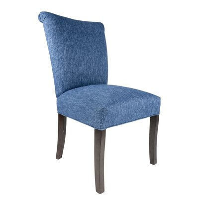 Barcelona Upholstered Side Chair in Espresso Upholstery: Blue Denim