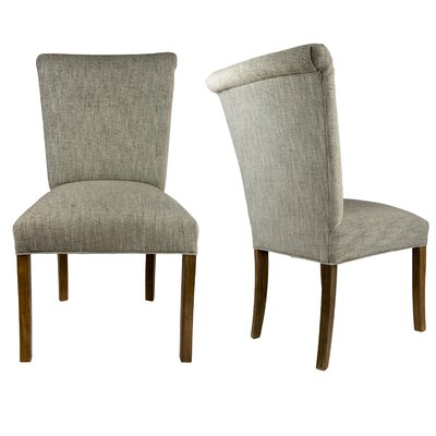 Barcelona Upholstered Side Chair in Espresso Upholstery: Platinum Gray