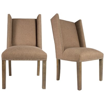 Rexford Winged Nailhead Upholstered Parsons Chair Finish: Washed Walnut