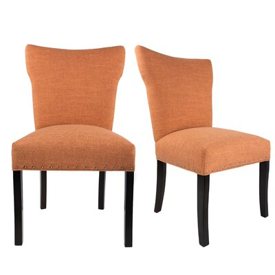 Salmon Upholstered Contemporary Parsons Chair Upholstery: Orange