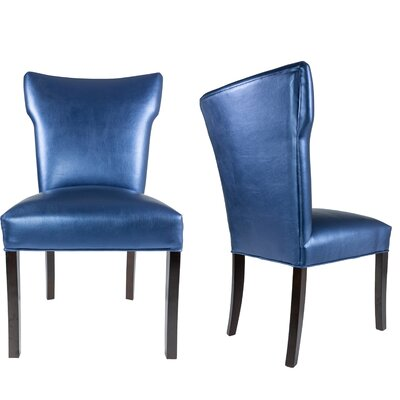 Cresson Vinyl Upholstered Contemporary Parsons Chair Uphostery: Azure Blue