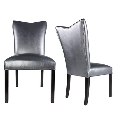 Hazlett Vinyl Upholstered Contemporary Parsons Chair Uphostery: Pewter