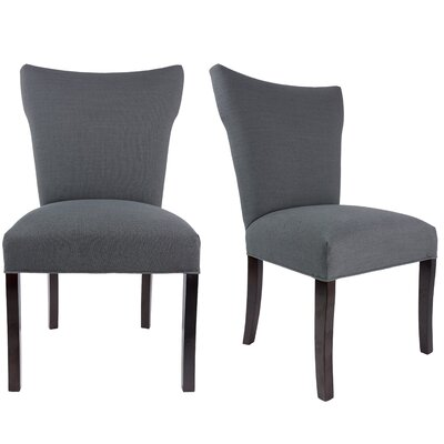 Salmon Allure Pebble Spring Seating Double Dow Upholstered Parsons Chair Upholstery: Charcoal Gray