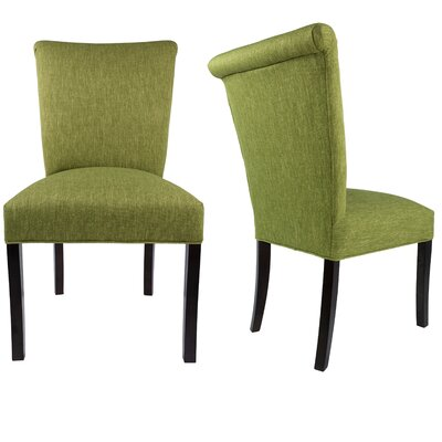 Barcelona Upholstered Parsons Chair in Espresso Upholstery: Grass Green