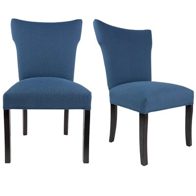 Salmon Allure Pebble Spring Seating Double Dow Upholstered Parsons Chair Upholstery: Denim Blue