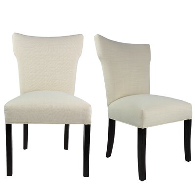 Salmon Allure Pebble Spring Seating Double Dow Upholstered Parsons Chair Upholstery: Ivory Off White