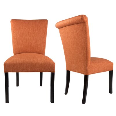 Barcelona Upholstered Parsons Chair in Espresso Upholstery: Terracotta Orange