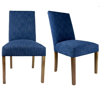 SL3000 Camelback Upholstered Parsons Chair Finish: Washed Walnut, Upholstery: Denim Blue
