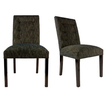 Kacey Straight Back Upholstered Parsons Chair Finish: Espresso, Upholstery: Black
