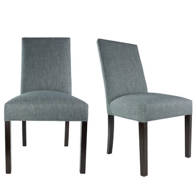 SL3000 Camelback Upholstered Parsons Chair Finish: Espresso, Upholstery: Ash Light Gray