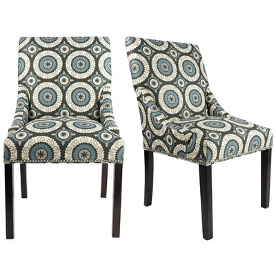 Marie Upholstered Side Chair Finish: Espresso, Upholstery: Gray/Blue/Beige