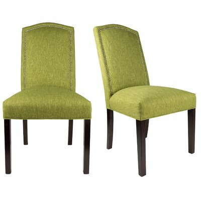SL2008 Camelback Upholstered Parsons Chair Finish: Espresso, Upholstery: Grass Green, Nailhead Finish: Silver