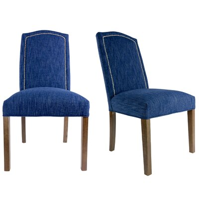 SL2008 Camelback Upholstered Parsons Chair Finish: Washed Walnut, Upholstery: Denim Blue, Nailhead Finish: Silver