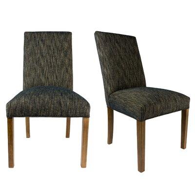 SL3000 Camelback Upholstered Parsons Chair Finish: Washed Walnut, Upholstery: Black