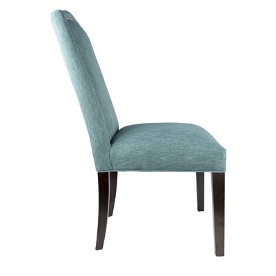 SL2008 Camelback Upholstered Parsons Chair Finish: Espresso, Upholstery: Bright Teal, Nailhead Finish: Bronze