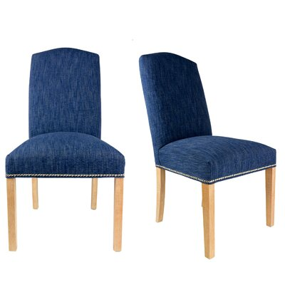 SL3004 Camelback Upholstered Parsons Chair Finish: Washed Natural, Upholstery: Denim Dark Blue