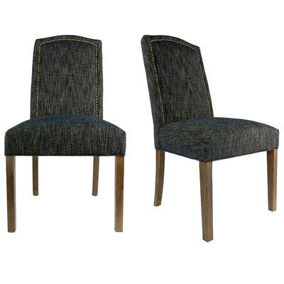 SL2008 Camelback Upholstered Parsons Chair Finish: Washed Walnut, Upholstery: Phantom Black, Nailhead Finish: Bronze