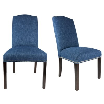 SL3004 Camelback Upholstered Parsons Chair Finish: Espresso, Upholstery: Denim Blue