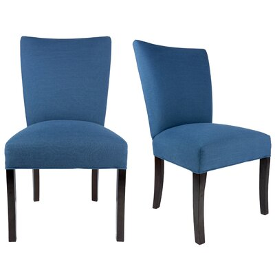 Knowlson Upholstered Parsons Chair in Denim Blue Color: Espresso